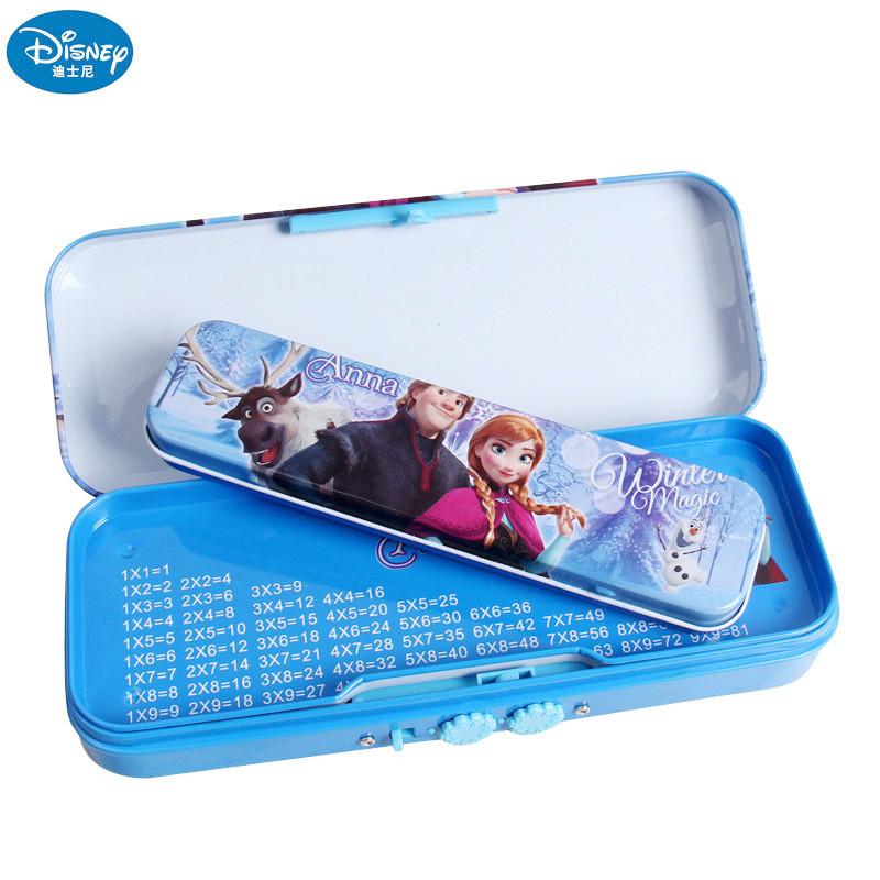迪士尼冰雪奇缘笔盒带密码母子文具盒小学生卡通大容量双层铅笔盒826