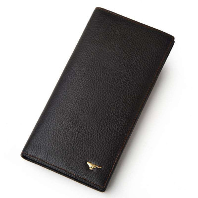 七匹狼SEPTWOLVES男士钱包头层牛皮(啡色)简约商务卡包 棕色系 敞口礼品装