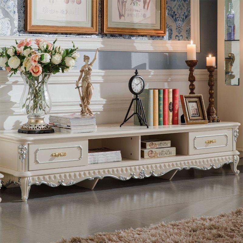 法丽莎家具g2欧式电视柜组合烤漆实木电视柜美式地柜田园电视墙柜a833