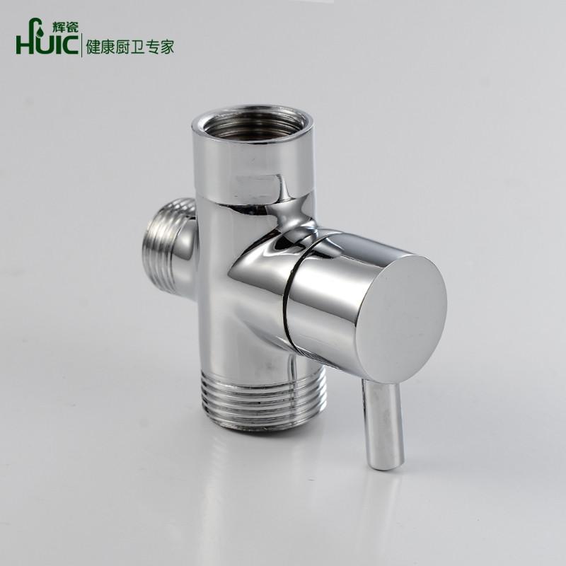 辉瓷全铜快开三通分水器4分/6分转换阀 淋浴花洒一进二出分水阀图片