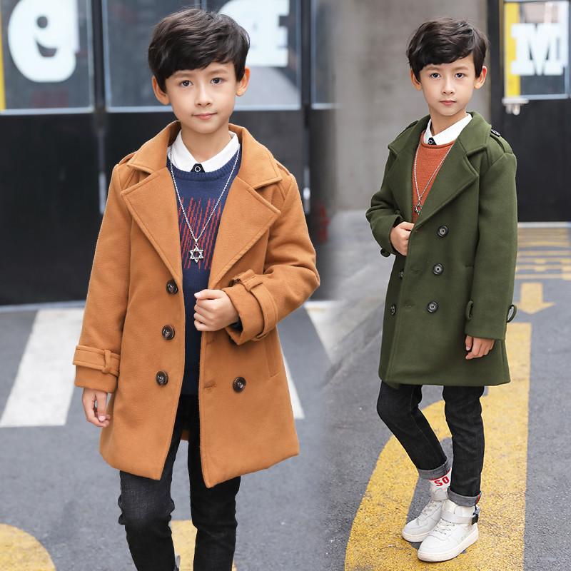 布奇酷童裝 男童毛呢外套加厚兒童呢子大衣 大童男裝韓版毛呢風衣 中圖片
