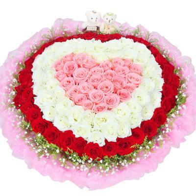 五二零 鮮花速遞全國 生日鮮花禮物預定 99朵紅粉白玫瑰花混搭花束 北京上海南京杭州廣州深圳花店同城送花