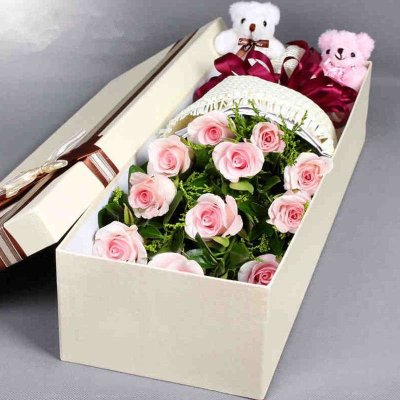 五二零 11朵红粉玫瑰花鲜花礼盒装 表白道歉爱情鲜花礼物预定 爱人女朋友闺蜜生日祝福鲜花速递全国花店同城送花上门