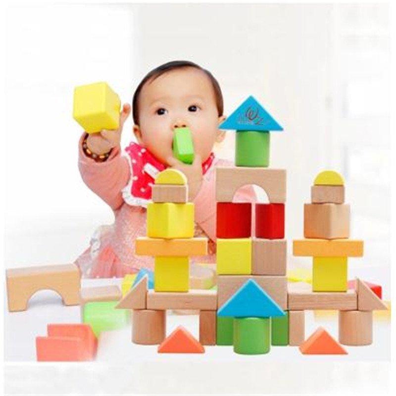 大颗粒儿童积木制玩具宝宝益智力桶装启蒙积木1-2-3岁