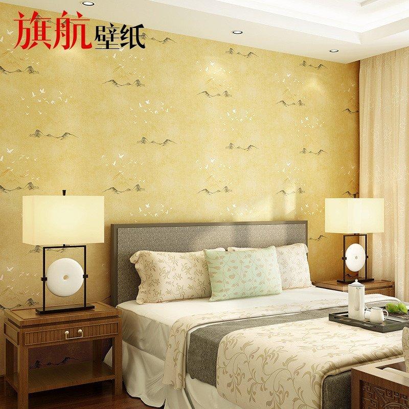 旗航壁纸 现代中式壁纸电视背景墙环保无纺布温馨卧室客厅墙纸 子墨