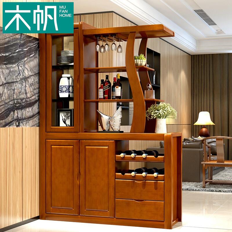 木帆 现代中式实木橡木隔断酒柜屏风双面隔厅柜玄关间厅门厅柜储物角