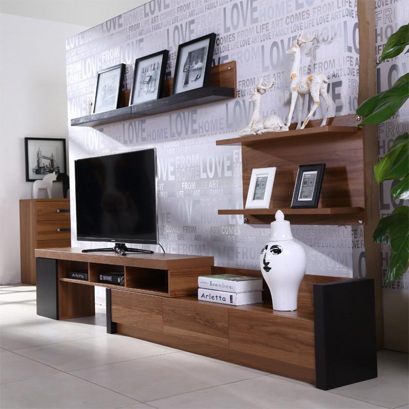 包邮 超薄胡桃木色电视柜 伸缩储物地柜现代北欧宜家卧室家具客厅家居
