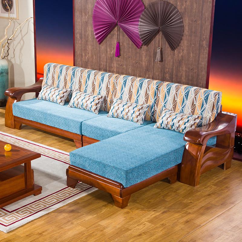 现代中式客厅贵妃木制沙发可拆洗 胡桃木实木沙发组合
