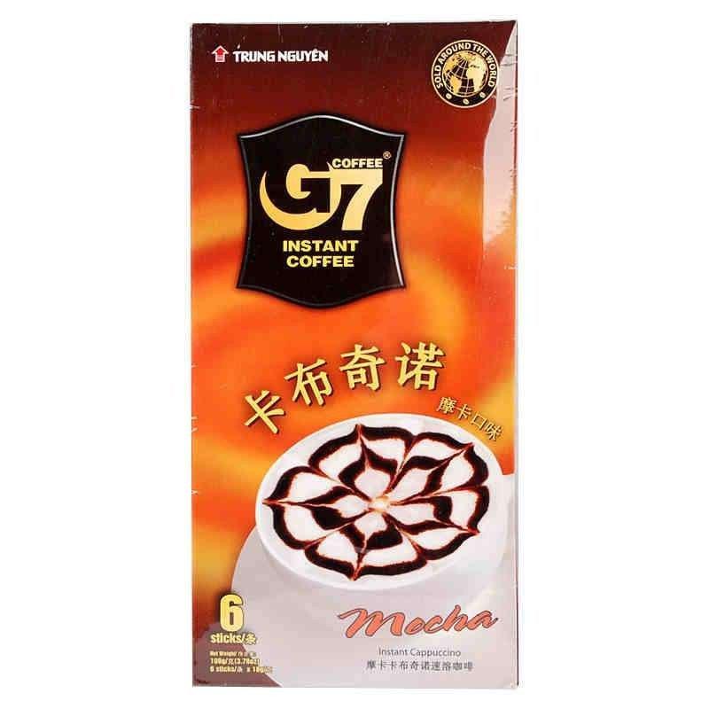 越南中原g7咖啡_越南进口中原g7咖啡摩卡味卡布奇诺速溶咖啡108g 18g*