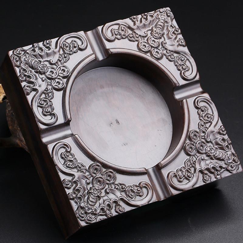 月印百川黑皮烟灰缸黑皮木雕蝙蝠送钱方形烟灰缸摆件图片