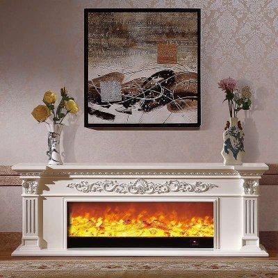 帝轩名典2米欧式壁炉 实木美式电壁炉装饰白色电视柜壁炉