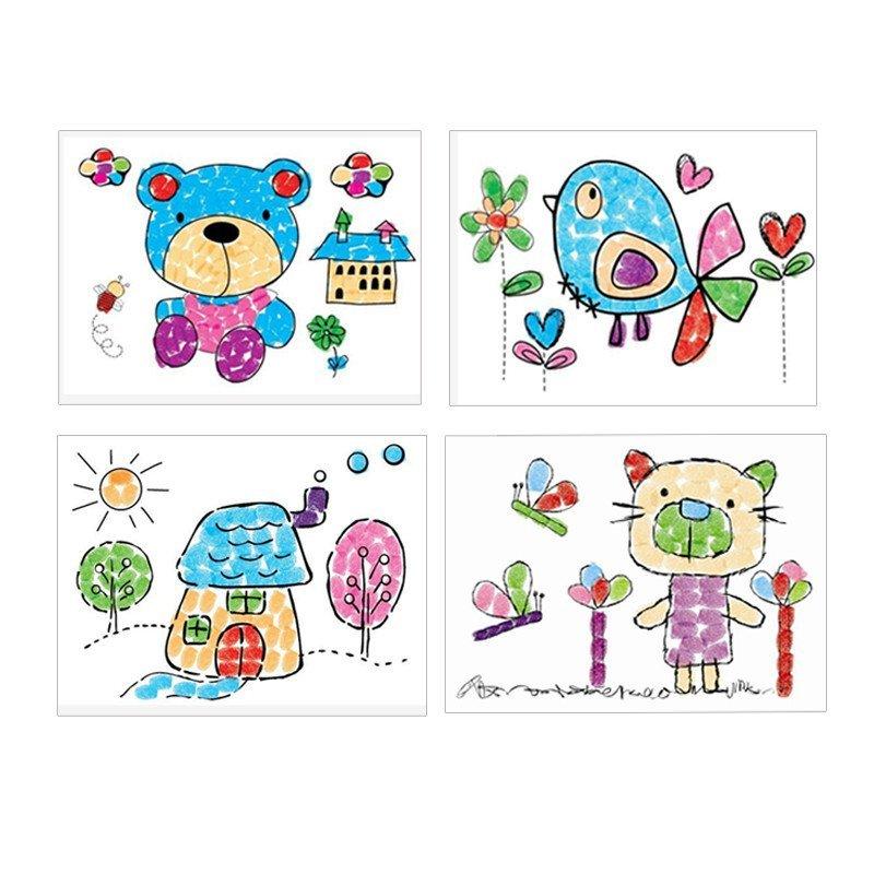 益智宝宝玩具 动物系列 6色颜料 8图套装