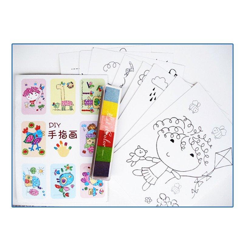 儿童手指画宝宝手指画绘画套装颜料印泥卡片可水洗无毒水彩画玩具创意