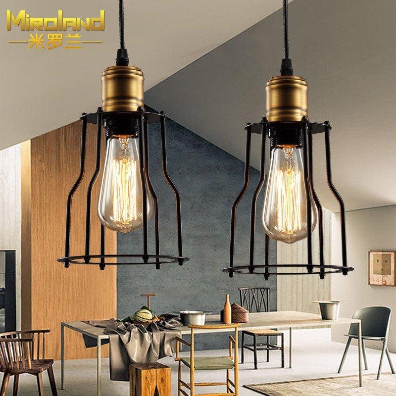 米罗兰 小铁架吊灯美式乡村工业风复古餐吊吧台led吊灯 阳台灯具