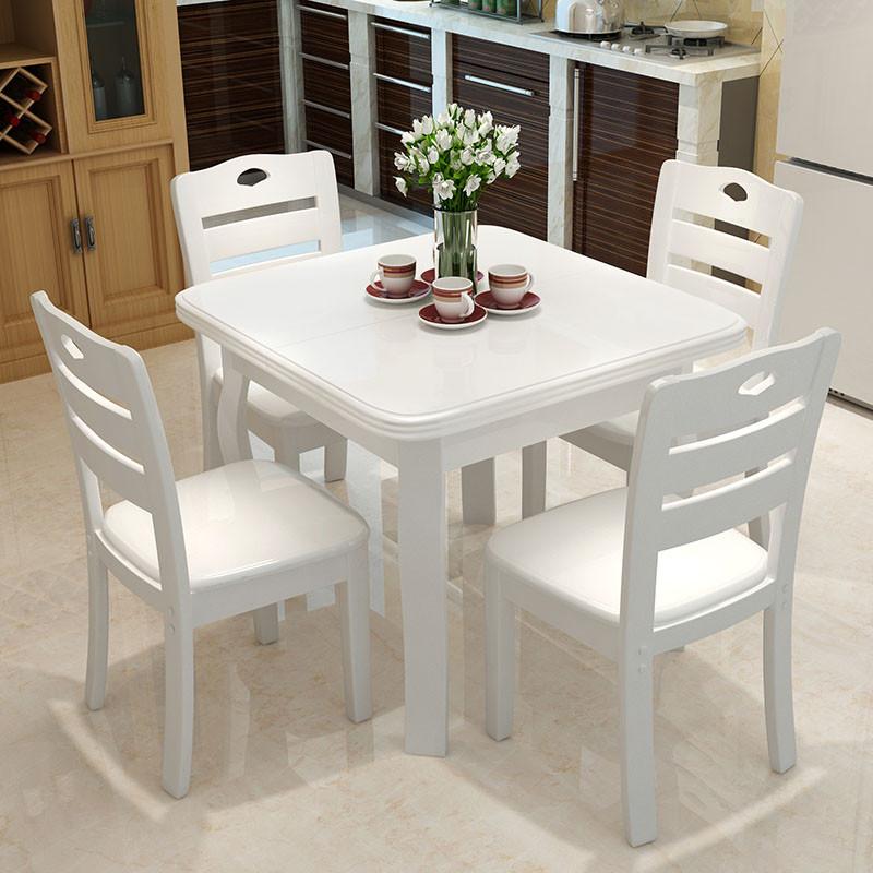 吟鸿 餐桌 实木餐桌椅组合 正方形折叠餐桌 多功能方桌饭桌子 可伸缩