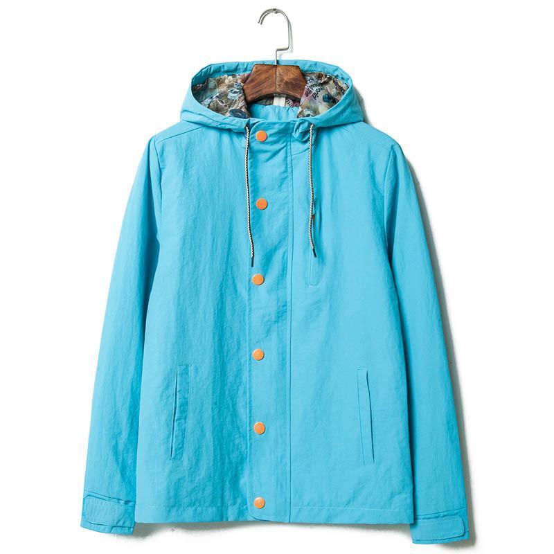 favorlove 春季男装韩版修身纯色连帽夹克衫男款开衫夹韩版修身款式m2