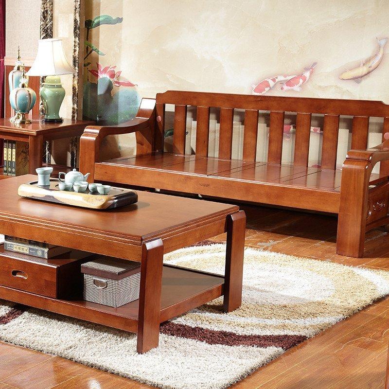 品尚美家 实木沙发客厅组合沙发实木家具冬夏两用橡胶