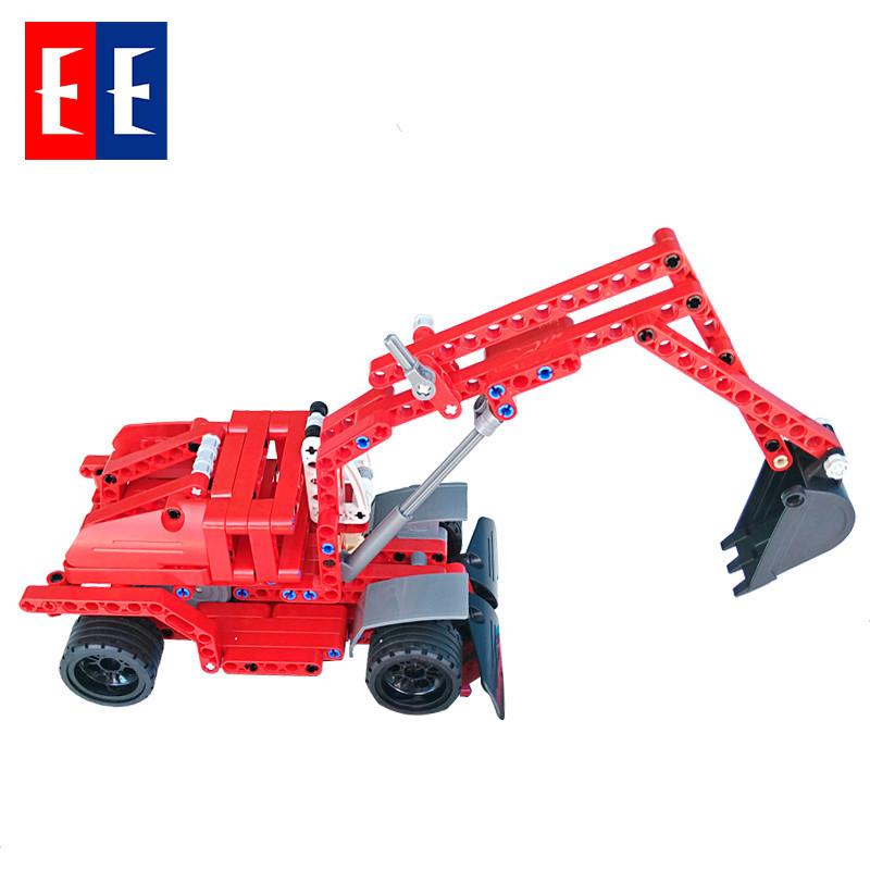 双鹰咔搭积木 积木回力车 益智玩具拼装积木儿童玩具车 工程车模型