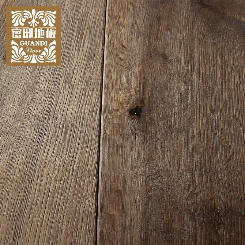 财到新品地板 国美欧范 实木多层木地板橡木 拉丝做旧