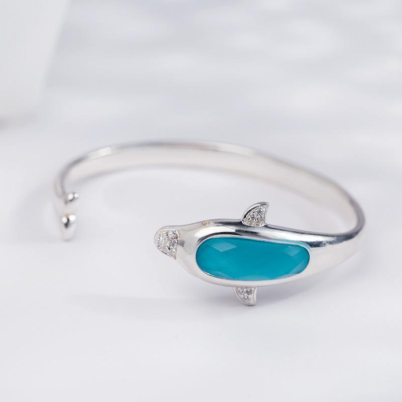 马尔代夫蓝 海洋馆系列 海豚 手镯 925银饰品 女 时尚