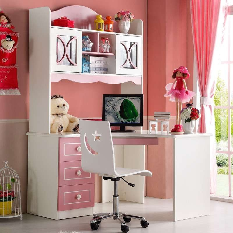 优漫佳欧式书桌儿童学习桌椅儿童书桌书柜组合转角书桌儿童写字桌