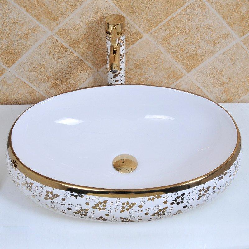 佰饰 椭圆形洗面盆 清新小碎金花 彩金色欧式洗手盆洗脸盆台上盆陶瓷