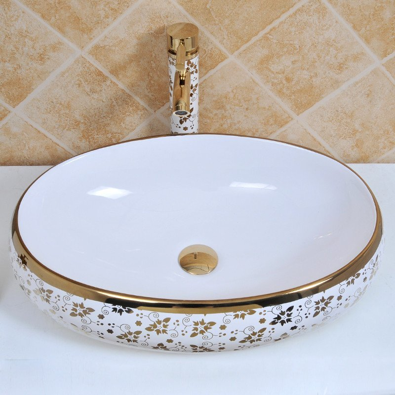 佰饰 陶瓷洗手盆 欧式彩金艺术盆 椭圆形台上盆 阳台台盆洗脸盆金色