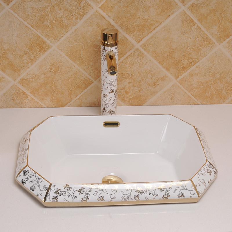 佰饰(baishi) 半嵌入式洗手盆 台上盆陶瓷面盆台中盆洗脸盆欧式台下盆图片