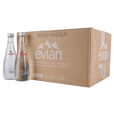 依云(Evian) 玻璃瓶装 天然矿泉水 330ml*20瓶 法国进口