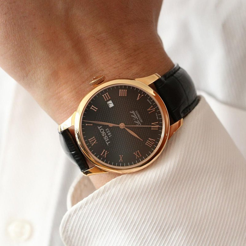 天梭tissot力洛克系列真皮表带黑盘男士自动机械手表