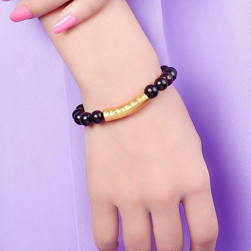 金利福珠宝 黄金手链 3d硬金六字真言配黑檀木圆珠转运珠