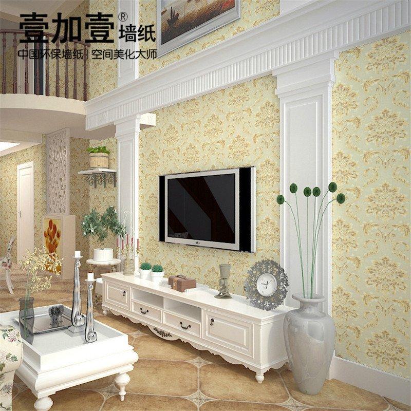 壹加壹环保墙纸 客厅卧室电视背景墙 欧式防水壁纸 大马士革墙纸