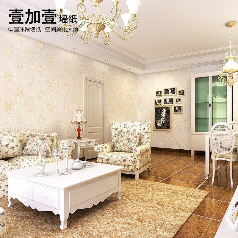 欧式田园简欧无纺布壁纸 温馨卧室客厅背景墙蓝白色