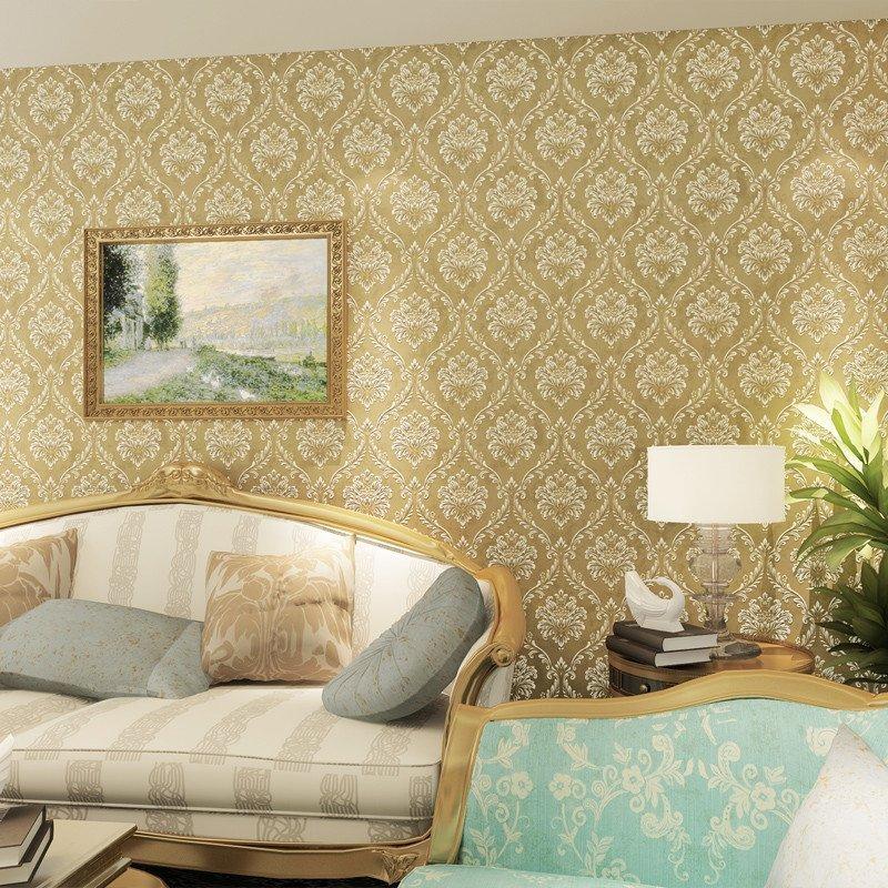 壹加壹欧式壁纸电视背景墙3d环保无纺布复古大花简欧卧室客厅墙纸