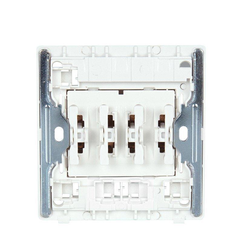 正泰电工墙壁开关插座new2d象牙白大面板四开单控16a钢架