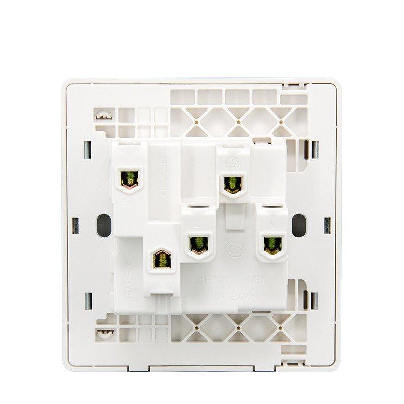 正泰电工墙壁开关插座new2d象牙白大面板一开单三孔16a钢架