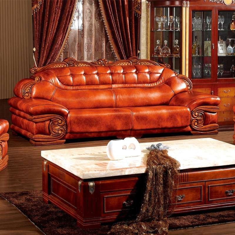 欧式古典客厅家具大款沙发组合 厚皮 实木雕刻皮艺沙发 头层真皮沙发