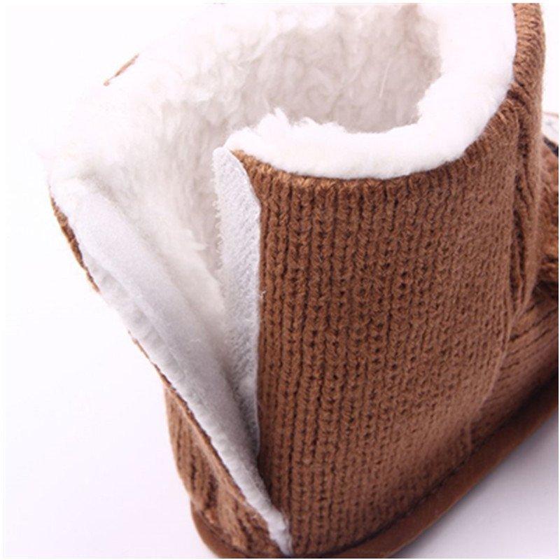 喜安贝 秋冬新款小熊针织加绒宝宝鞋学步鞋软底婴儿鞋子婴童棉鞋