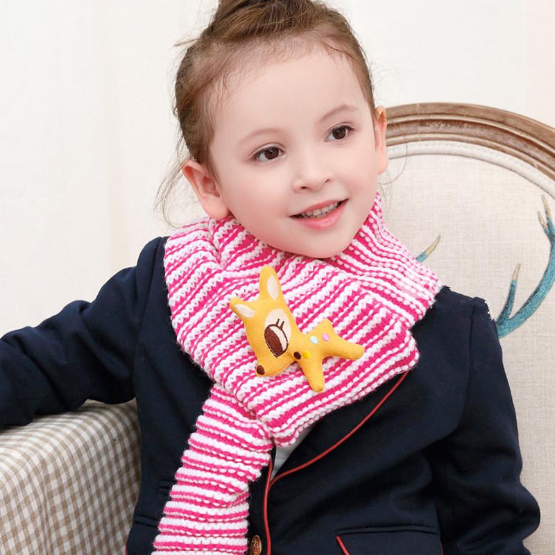 喜安贝 儿童围巾秋冬季男童女童针织编织围巾宝宝针织