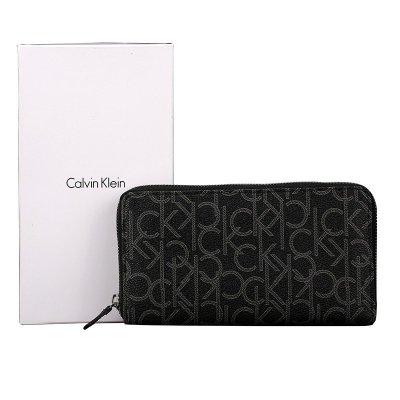 卡尔文·克莱恩Calvin Klein男士手拿包CK欧美时尚商务约会长款印花皮夹头层牛皮钱包