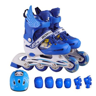 貝德隆(beidelong)路獅系列溜冰鞋休閑閃光輪直排輪溜冰鞋兒童通用套裝溜冰鞋PVC輪滑鞋直排輪新 滑冰鞋休閑鞋