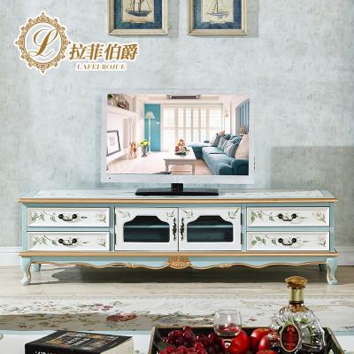 拉菲伯爵 客厅家具欧式电视柜实木地柜子电视机柜地中海手绘电视柜