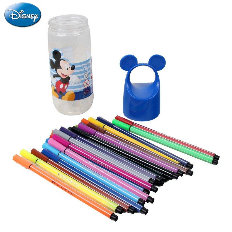 迪士尼米奇水彩笔学生绘画笔 男女童水彩笔桶装儿童创意水彩笔24色
