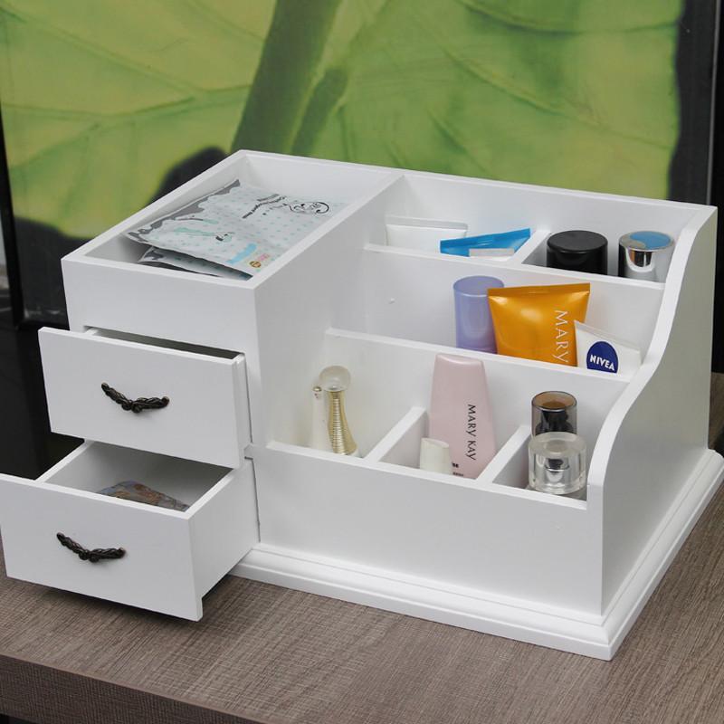 欧式化妆品收纳盒大号木质韩式梳妆盒抽屉桌面化妆盒储物箱免组装