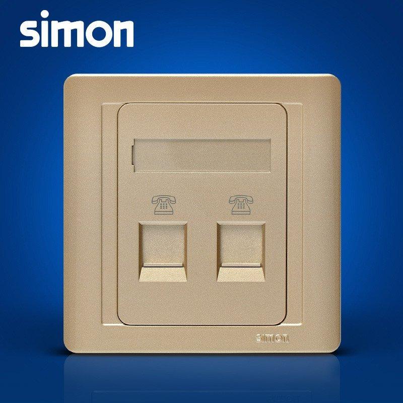 simon西蒙电气开关插座面板55系列亮香槟金色 电话插座n55224-56双