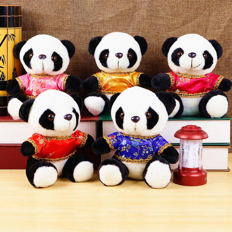 乡土情地方特色 唐装熊猫毛绒公仔 映秀镇地方纪念品可爱熊猫宝宝唐装