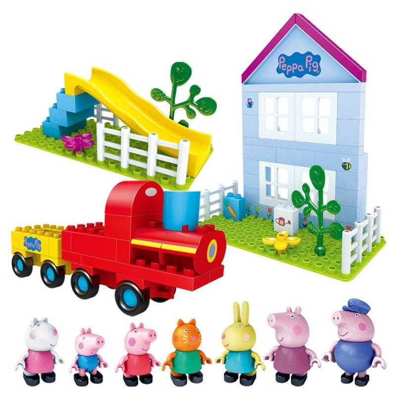 邦宝颗粒拼插拼装积木塑料玩具宝宝早教益智男女孩儿童玩具小猪佩奇开