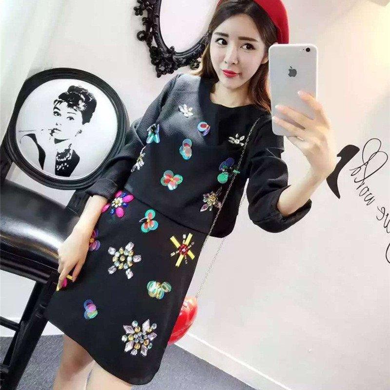韩文2015欧美时尚彩色花朵亮钻手工刺绣上衣 半身套