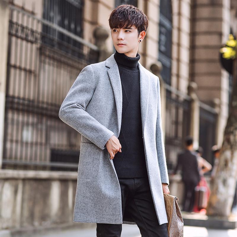 幸福時光2018新款裝韓版修身毛呢大衣男士中長款風衣潮男裝呢子外套圖片