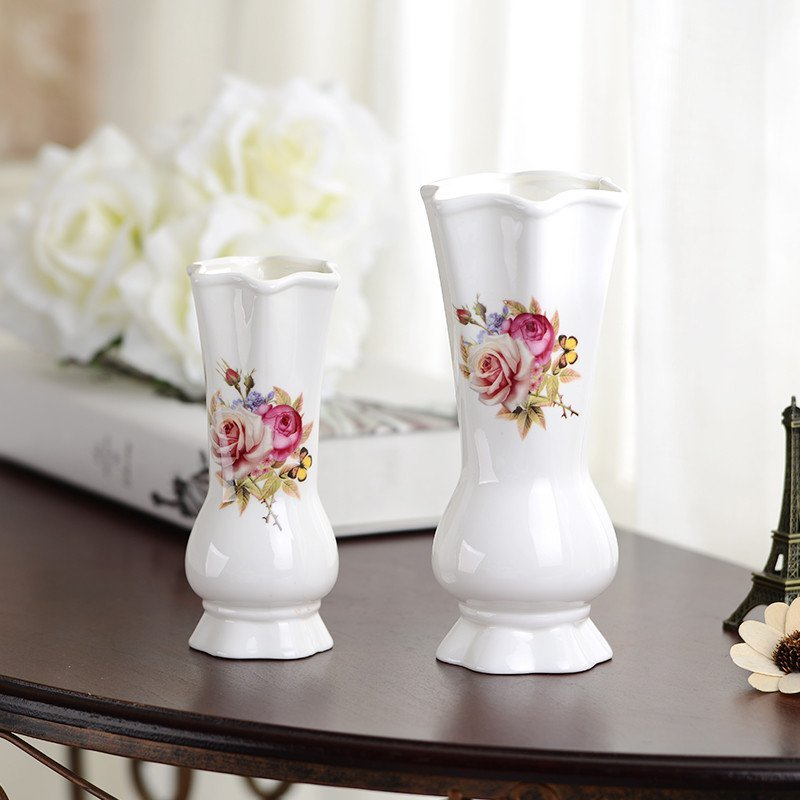 【花海花瓶小号欧式白色陶瓷花瓶摆件客厅餐桌干花瓶